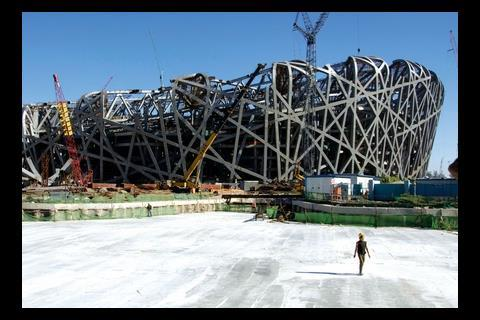 More than 7,000 workers built the imposing Beijing stadium.